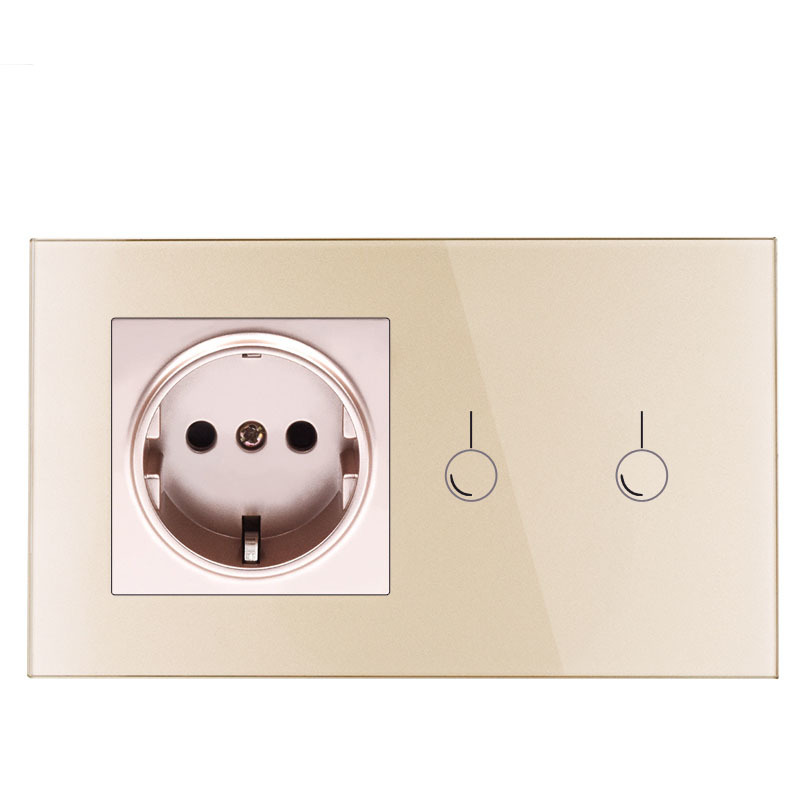 146 European standard intelligent touch switch socket, tempered glass panel connected switch socket combination146 European standard intelligent touch switch socket, tempered glass panel connected switch socket combination