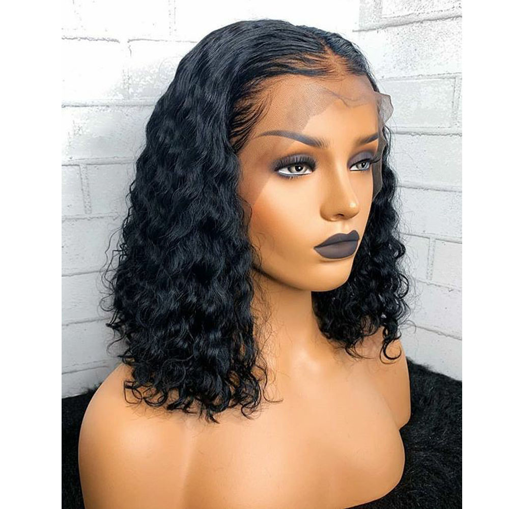 Bob Wig Lace Front Human Hair Wigs For Women Natural Black Short Curly Bob Frontal Lace