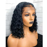Bob Wig Lace Front Human Hair Wigs For Women Natural Black Short Curly Bob Frontal Lace Wigs Glueless Preplucked Lace Wigs Remy