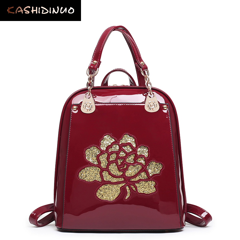 KASHIDINUO Brand Fashion Women Backpacks High Quality Patent Leather Backpacks School Shoulder Bags Ladies mochila for Teenage free shipping post surgical women drag queen boobs silicone mastectomy breast 450g left d cup for breast cancer lady