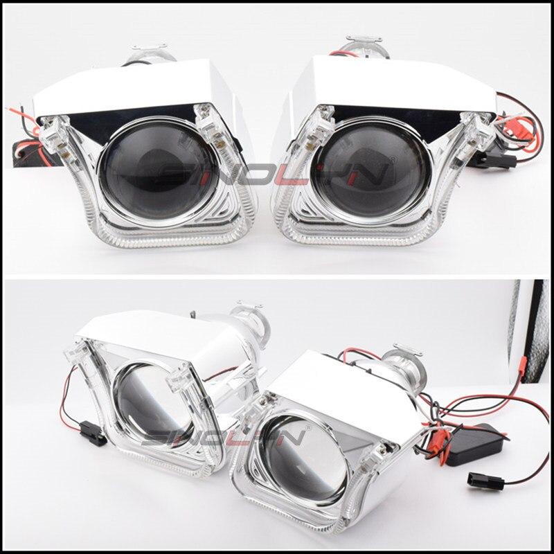 2.5 ''mise à niveau 8.0 carré U LED Angel Eyes Halo HID bi-xénon lentilles pour projecteur de voiture phare DRL H1 H4 H7 9005 9006 HB3 - 5