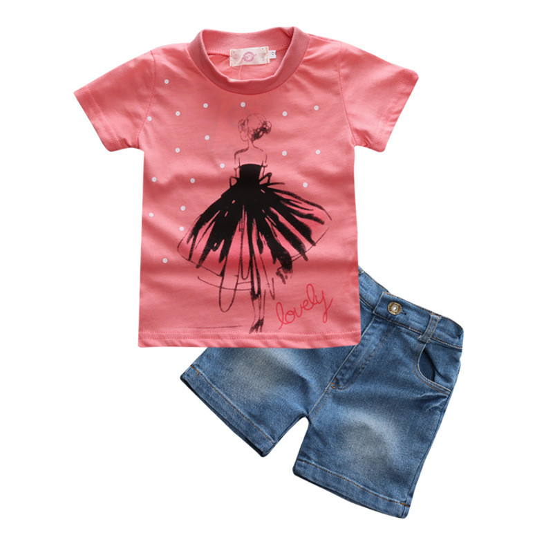 2017 Summer Style Girls Clothing Sets Fashion Cotton Print Short Sleeve T-shirt and Denim Shorts Girls Clothes Casual Suits family fashion summer tops 2015 clothers short sleeve t shirt stripe navy style shirt clothes for mother dad and children