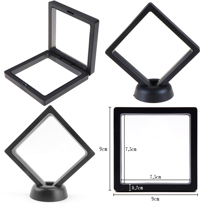 Fashion Cases Displays Square 3D Albums Floating Frame Holder Black White Coin Box Jewelry Display Show Case For Wedding 90*90mm