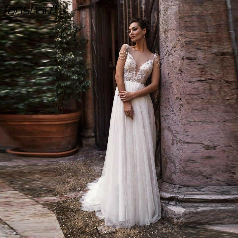 2019 Muslim Wedding Dress V-Neck  Lace Beads Illusion Dubai Arabic Boho Wedding Dress Bride Dress Vestido De Noiva Custom Made