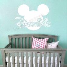 Mickey Head Custom Name Wall Sticker Vinyl Art Removeable Kidsroom Babyroom Poster Mural Ornament Carton Decor LY1189