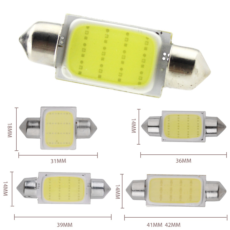 wholesale 100pcs car bulbs sigal lamp cob reading interior light decoration Festoon 31mm 36mm 39mm 41mm Socket auto white lamp