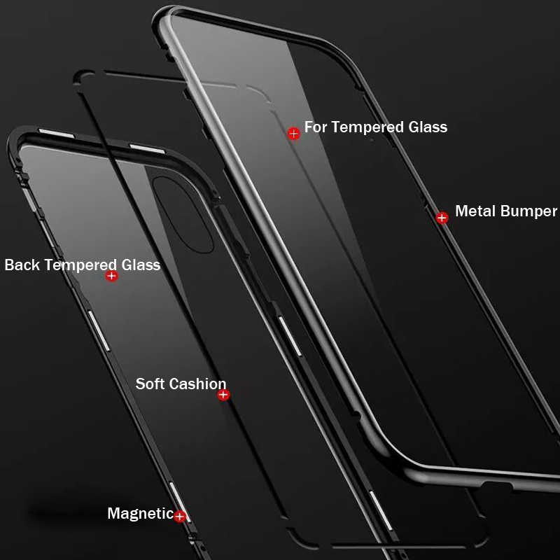 Remax 磁気電話ケース iphone XS Max X XR ケースマグネットスクリーンプロテクター強化ガラスケース Coque カバー