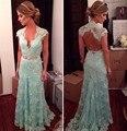 2016 Laço Longo da Noite Vestidos de Hortelã Verde Profundo Decote Em V Festa de Casamento da Luva do tampão Aberto Voltar Prom Dress Para As Mulheres vestido