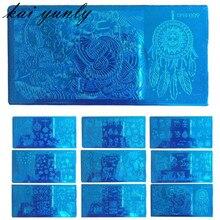 Кай yunly 1 ШТ. Рождество DIY Image Stamp Стампер Плиты Маникюр Шаблон Nail Art Stamping Tool Печать Передачи Синий Октября 2