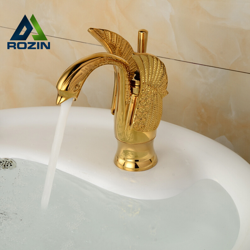 Swan Shape Single Hole Basin Sink Faucet Deck Mount Single Lever Bathroom Mixer Tap in Golden swanstone dual mount composite 33x22x10 1 hole single bowl kitchen sink in tahiti ivory tahiti ivory