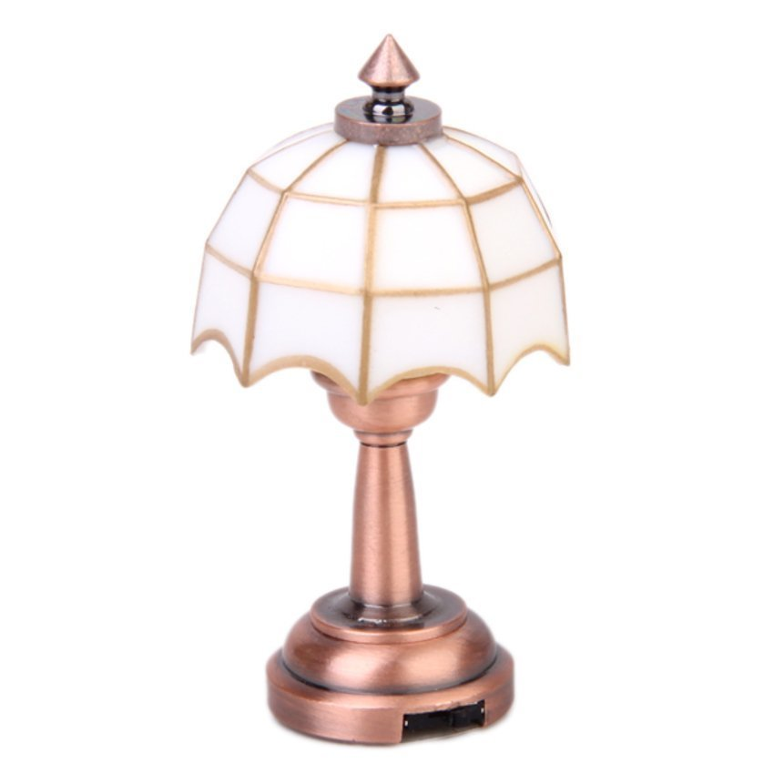 Workmanship In Spirited Omotoys Wireless Bronze Metal 1:12 Scale Dollhouse Miniature Led Desk Lamp Model With White Umbrella Shape Lampshade Exquisite