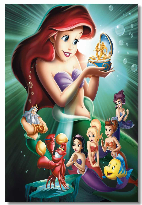 Custom Canvas Wall Decor Princess Ariel Poster The Little