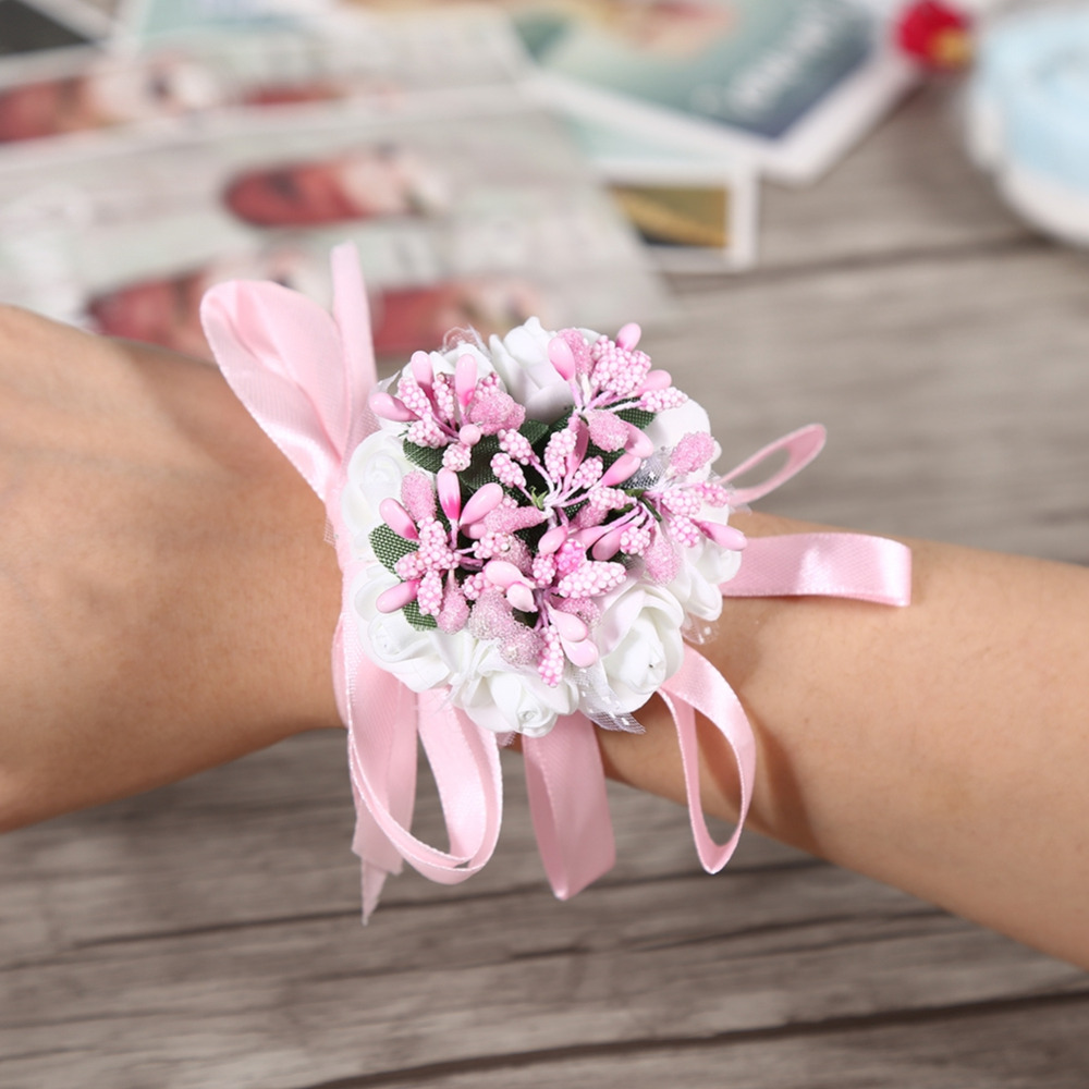 Smart Fake Flower Wrist Corsage Bracelet Wrist Flowers For Bridesmaids Red Wedding Decoration Marriage Rose Wrist Corsage Hand Flowers Clothing, Shoes & Accessories