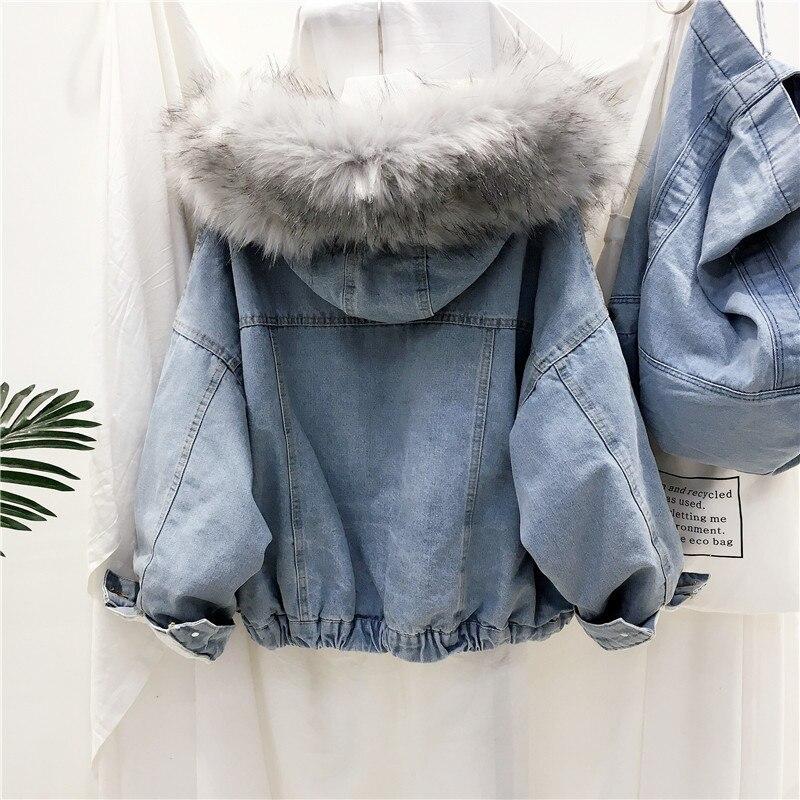 חדש סתיו חורף עבה כבשים צמר בסיסי ג 'ינס מעיל נשים קורדרוי רופף מעיל בתוספת גודל כותנה חם קטיפה ג' ינס הלבשה עליונה