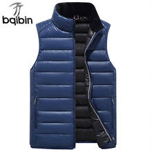 Vests Men Men's Sleeveless Outwear Jackets Winter Fashion Casual Slim Solid Cotton-Padded Waistcoat Thicken Warm Coats 5 Colors