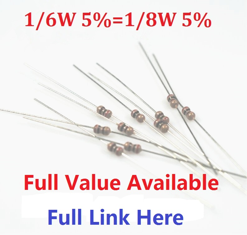 Free Shipping 1000pcs/lot 1/6W 1/8W Carbon Film Resistor 0R--1M +-5% 10K Ohm 10K 4.7k 2.2K 1K 100K 470K 100R 360R 680R 910R