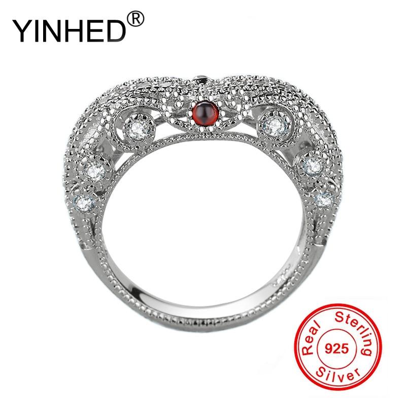 YINHED Mulheres Anéis de Retro Estilo Barroco De Luxo 925 Prata Esterlina Anel de Casamento Coração Rubis Jóias Minúsculo Zircon CZ Anel ZR571