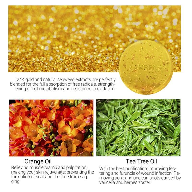 LANBENA 24K Золото Ручная работа Мыло Антивозрастное Морские водоросли Глубокое Очищение Увлажнение Питание Отбеливание Против морщин Красота Кожа Уход