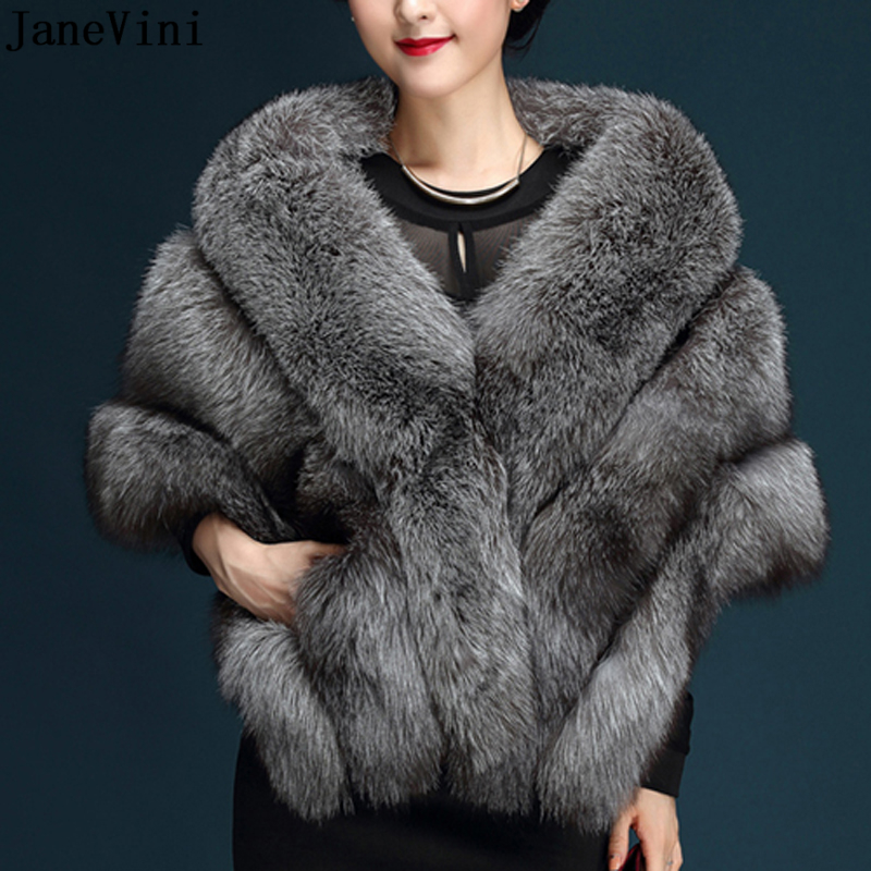 JaneVini High Quality Dark Gray Bridal Faux Fur Shawls Wedding Bolero Outerwear Jackets Brides Winter Cape Wedding Evening Wrap