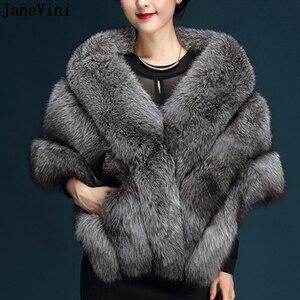 Image 1 - Janevini 고품질 짙은 회색 신부 가짜 모피 shawls 결혼식 볼레로 겉옷 재킷 신부 겨울 케이프 결혼식 저녁 포장