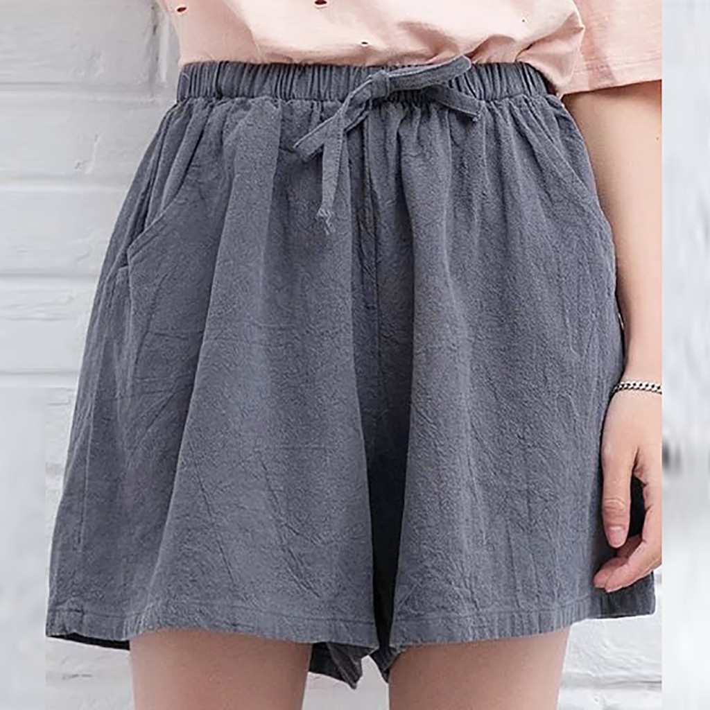 Linen Shorts Ankle-Length High-Waist Summer Fashion Women Lady Beach And Solid Casual