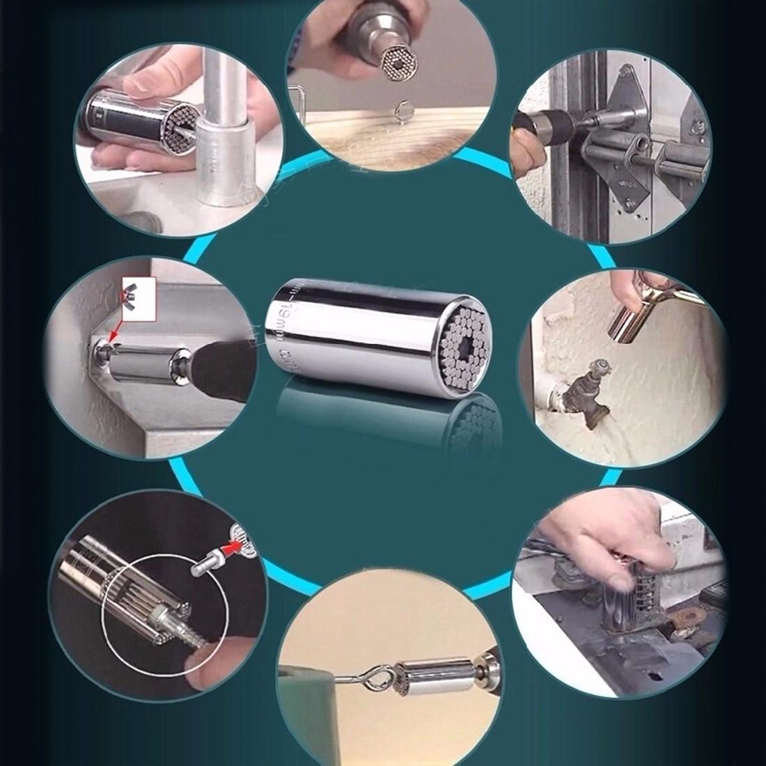 1pcs Universal Multi Hand Tools Torque Wrench Head Set Socket Sleeve 7-19mm Power Drill Ratchet Bushing Spanner Key Magic Grip