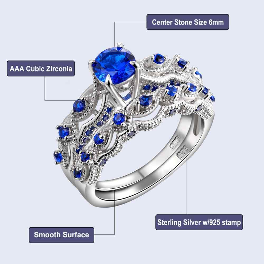 2ffe1639ff2f22 ... Newshe 1.3 Ct Solid 925 Sterling Silver Wedding Ring Sets Engagement  Band Blue CZ Eternity Jewelry