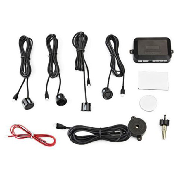 DC12V LED Car Parking Sensor 4 Sensors Monitor Auto Reverse Backup Radar Detector System Kit Sound Alert Alarm Indicator Probe