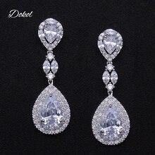 DOKOL Elegant AAA Cubic Zirconia Drop Earrings For Wedding Silver Color Bridesmaids Earring Brides Fashion Women Jewelry DKE0062