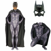 Muscle Dark Knight Batman Costumes With Mask Cloak Bruce Wayne Superhero Halloween Party Costume Zentai Suit Adult Kids Men Boys