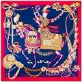 Лошадь Кавалерийской Квадратные Шарфы для Женщин Чистого Шелка Шарф Бренд Яркий Цвет Foulards Новое Прибытие