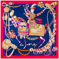 Horse Cavalry Square Scarves For Women Pure Silk Scarf Brand Bright Color Foulards New Arrival