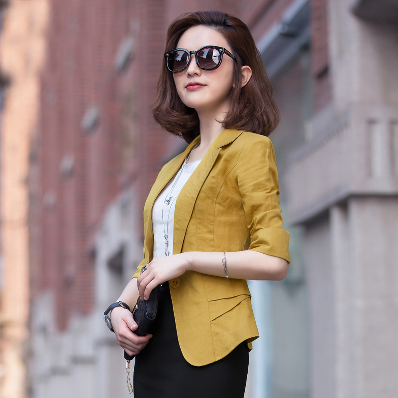 2019 summer new linen small suit women's jacket short paragraph cotton seven sleeves sun protection clothing thin suit