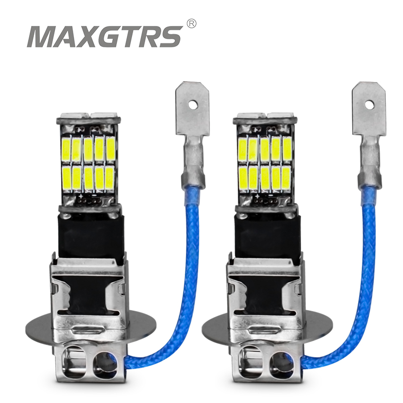 2x H3 H1 4014 26SMD LED Replacement Bulbs Car Fog Lights Canbus No Error Daytime Running Light Auto Lamp White/Blue/Ice Blue