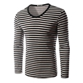 2016 New Spring M-2XL Fashion Color Striped Men's T shirts Long Sleeves Warm Thick Dress Men Casual Slim Fit Top 14M78