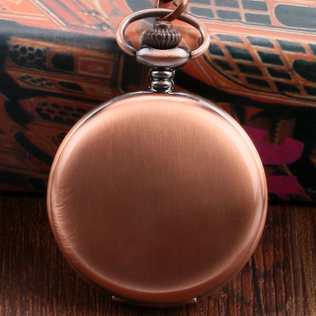 New Arrival Sample Rose Golden Bronze Pocket Watch Concise Fob Watch With Chain