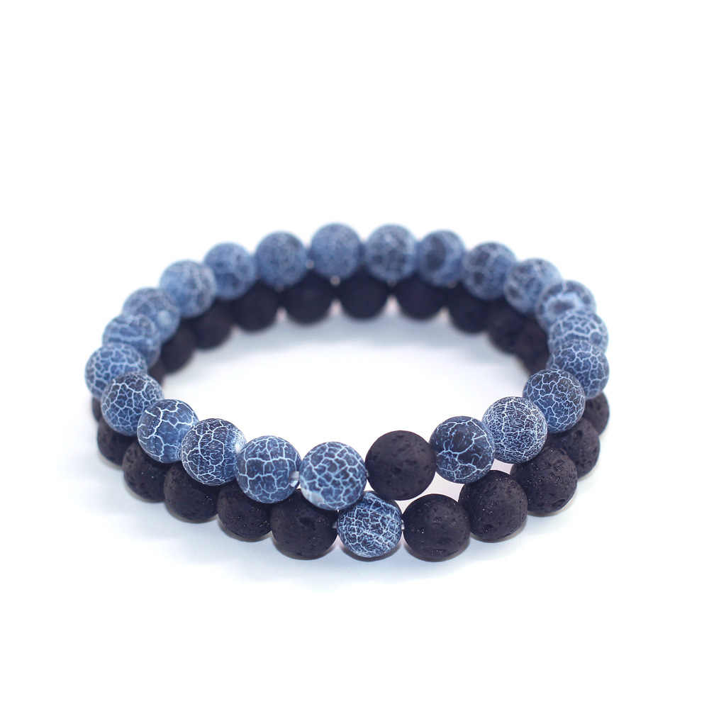 Nuevas llegadas pulseras de cuentas de piedra de Lava Natural azul piedra desgastada pulseras de parejas hechas a mano para hombres y mujeres cadenas de mano