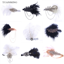 Headband-Accessories Headpiece Hair-Band Hair-Jewelry Rhinestone Gatsby White Black Fashion