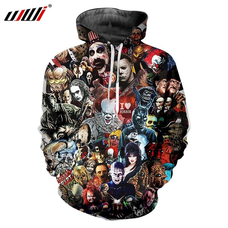UJWI Man Hoodies Horror Mask Hoody Mens 3D Harajuku Oversized Pullover Printed Cartoon Fitness Clothing