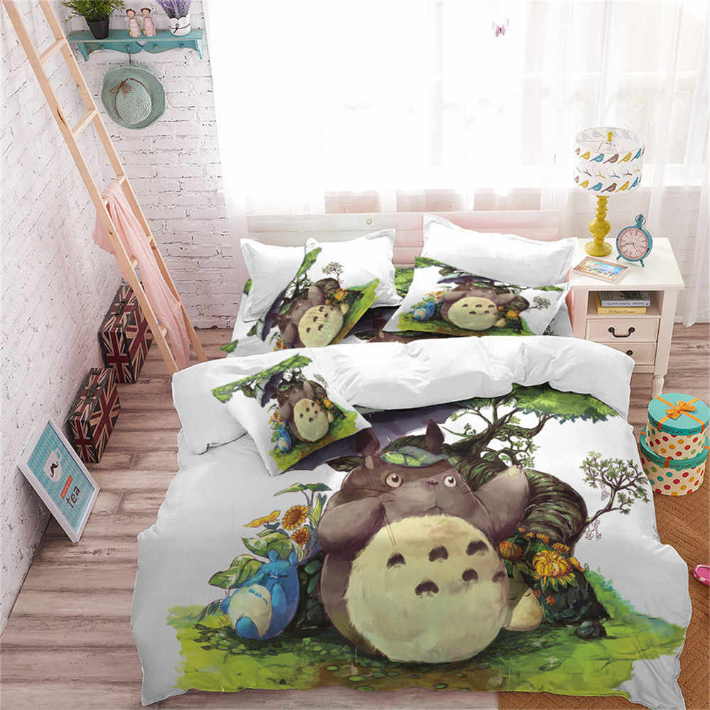 Kids Cartoon Bedding Set Totoro Umbrella Print Duvet Cover Set Natural Scenery Printed Bedding King Queen Quilt Cover 3pcs D30