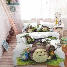 Kids Cartoon Bedding Set Totoro Umbrella Print Duvet Cover Natural Scenery Printed King Queen Quilt 3pcs D30