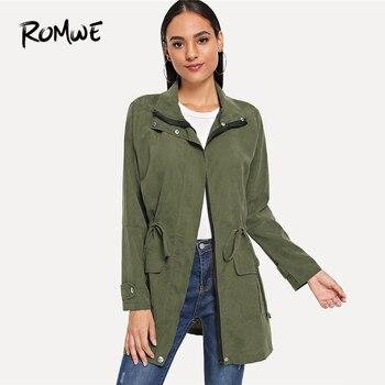 9113e23f0bf3 ROMWE ejército verde sólido cordón cintura abrigo mujer Casual otoño Turn-down  Collar ropa de manga larga bolsillo cremallera prendas de abrigo