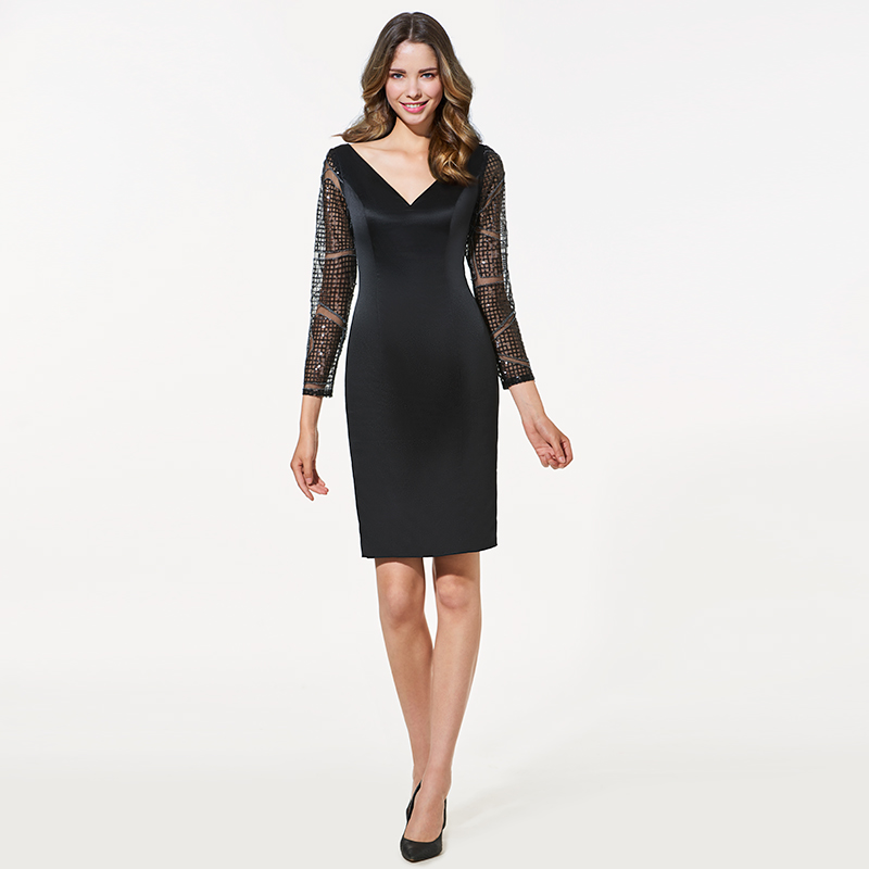 Tanpell v neck short   cocktail     dress   sexy black long sleeves above knee sheath   dress   women party formal customed   cocktail     dresses