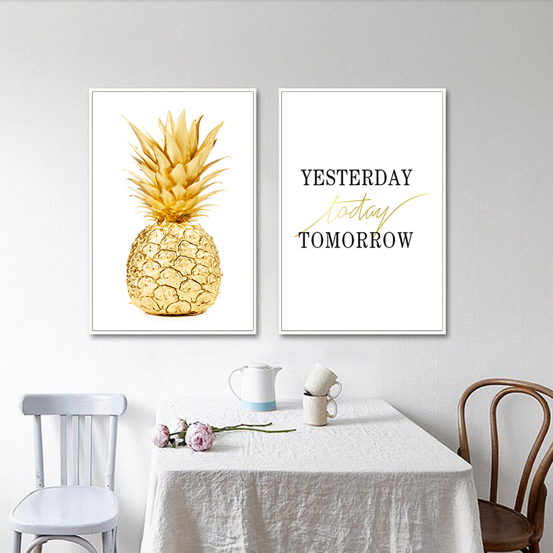 Wall Art Canvas Painting Yellow Gold Pineapple Minimalist Nordic Style Poster Modern Picture Print Home Office Room Decoration in Painting Calligraphy from Home Garden