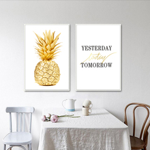 Wall Art Canvas Painting Yellow Gold Pineapple Minimalist Nordic Style Poster Modern Picture Print Home Office Room Decoration