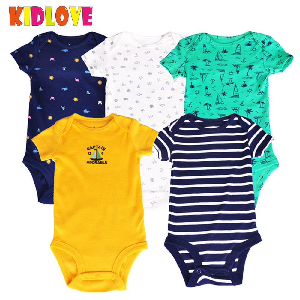 KIDLOVE 5pcs/set Baby Boys Rompers Cool Dinosaur/Marine Series Romper Short Sleeve Cotton Vest Jumpsuit 2018 Summer Clothes