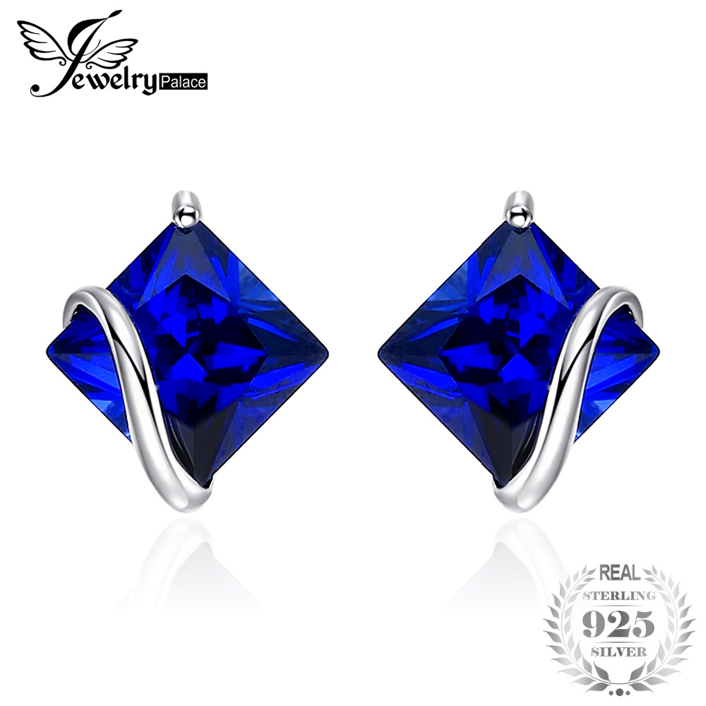 JewelryPalace Classic 2.8ct Creado Sapphire Stud Earrings Charm 925 - Joyas
