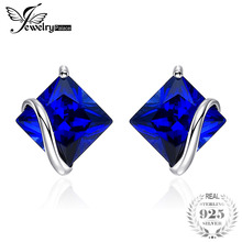 JewelryPalace Classic 2.8ct Creado Sapphire Stud Earrings Charm 925 Sterling Silver Fine Jewelry Para Mujeres Accesorios de moda