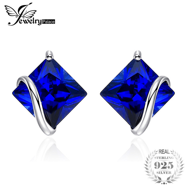 JewelryPalace Classic 2.8ct Created Sapphire Stud Earrings Charm 925 Sterling Si