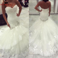 High Quality New Fashion 2018 Mermaid Sweetheart Lace Crystal Luxury Sexy Long Wedding Dresses Bridal Gowns Custom Size WD37